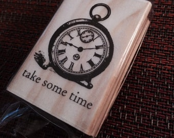 25%OFF SALE NEW Michaels Wood Rubber Stamp pocket watch