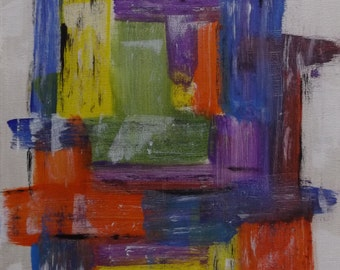 Original, Unique, Abstract Painting, Modern Art, Acrylic Painting, Stretched Canvas, 30x40cm, Blue, Green, Yellow, Purple, Black, White, Red