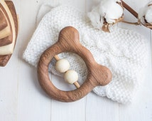 Organic Wooden Teether. Organic Wooden Rattle Toy. Beech teething Toy. Natural Wooden Toy. Teddy Bear rattle.  Eco Friendly.
