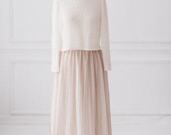 Skirt long beige silk tulle