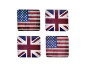 British American Flag  drink coaster set of eight! USA UK