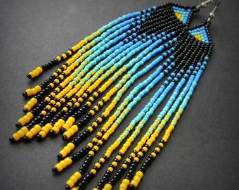 Long boho earrings Extra long earrings Long beaded earrings Bohemian earrings Ethnic earrings Long dangle earrings Colorful hippie earrings