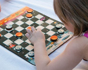 Cosmic Checkers - Wooden Checkers from Outer Space