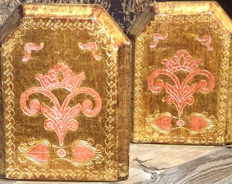 Pretty in Pink and Gold Vintage Italian Bookends