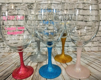 Personalized Wine Glasses with Glittered Stems
