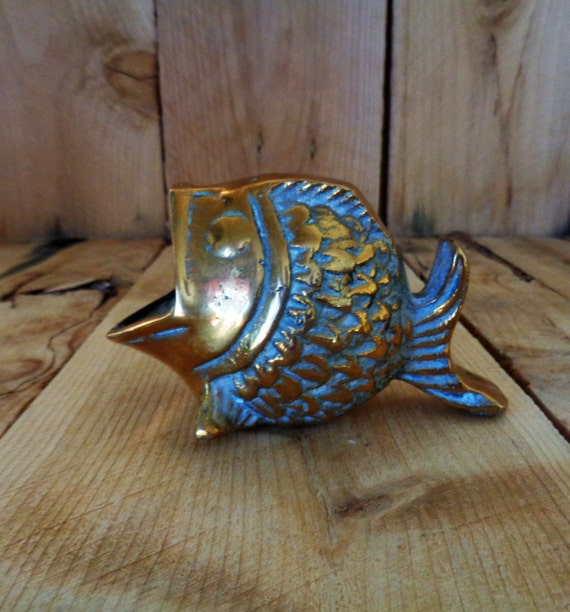Brass fish koi vintage home decor for Koi home decor