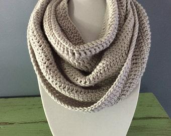 Gray Infinity Crochet Scarf