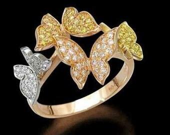 Yellow Gold Diamond Ring 14 k White Gold butterflies and yellow 14 k
