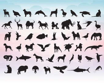 Vector animal silhouette SVG digital Illustrator file Instant download cutting machine Laser engraving files Vector drawing animal shapes