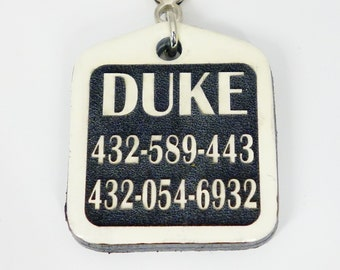 Custom Pet Tags - White and Black Pet tag - sooooo quiet with leather