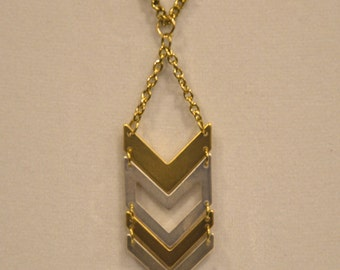 FREE SHIPPING in US | Gold and silver necklace | Gold and silver chevron pendant necklace