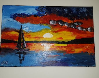 Fiery Sunset, Original Palette Knife Painting By F. Geloo