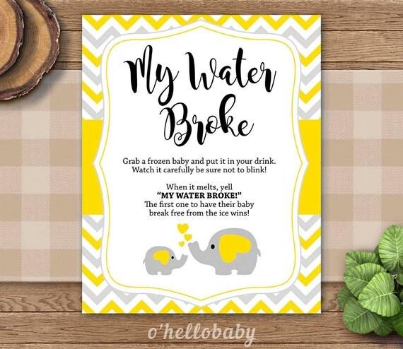 my water broke game yellow grey chevron baby shower games baby boy