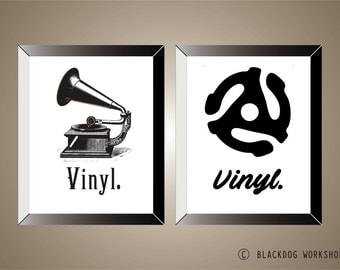 VINYL - SERIES OF 2 Posters, 11x14, Records, Prints, Home Decor, Wall Art