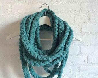 Blue, braided scarf