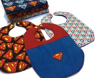 Superman bibs, Superman Burp Cloths, baby shower gift, Superman Burp Rags, baby Bibs, Diaper Changing Pads, Baby burp cloths, Baby Gift