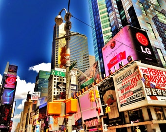 Broadway Art, Times Square Poster, Broadway New York Photo, NYC 45th St Fine Art Photography, Broadway Lover, Manhattan Newsies Musical Gift