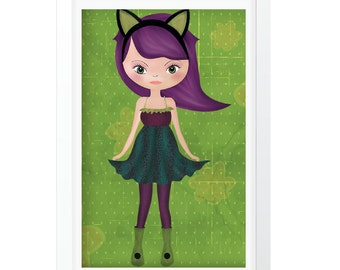 Illustration doll with cat ear