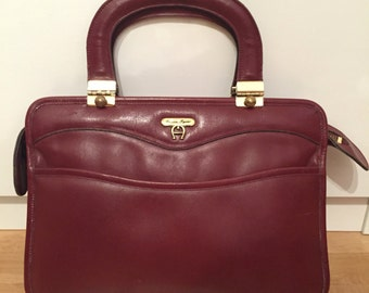 Vintage Etienne Aigner Brown Burgundy Leather Bag