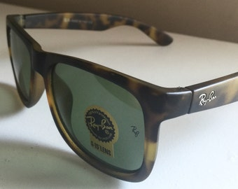 S A L E vintage style Ray Ban wayfarer sunglasses NEW thick plastic lense ray ban logo by luxoticca made in Italy leopard print ray bans