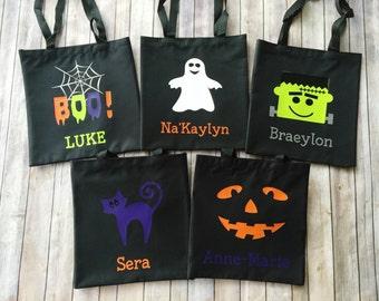 Personalized Halloween Trick or Treat Bag - Happy Halloween Tote - Canvas Halloween Bag - Ghost - Boo - Frankenstein - Pumpkin