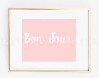 Bon Jour - Watercolor Text - Digital Art - Instant Download