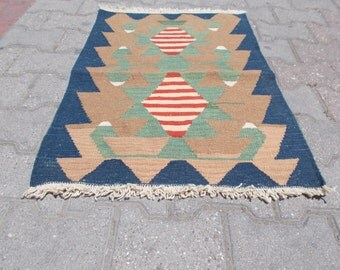 Vintage Turkish Anatolian a handwoven kilim rug Wool on Wool Home Decor.23.6'' X 33.4'' inches Or 60X85 cm