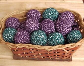 Handmade Shiny Crochet Beads - Choice of Purple or Green