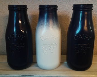Navy and white ombre milk bottles