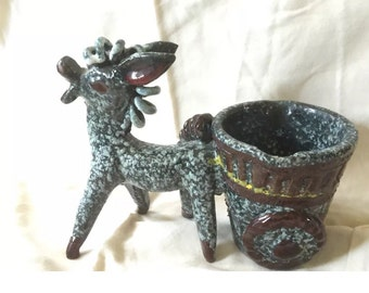 Unique Vintage Italian Pottery/Donkey and Cart Planter