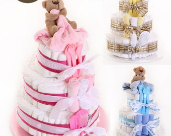 Adorable 3 Tiered Nappy Cake Boy Girl Neutral Newborn Baby Shower Gift Present