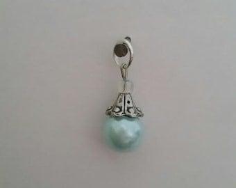 """Light seafoam green """"pearl"""" charm"""