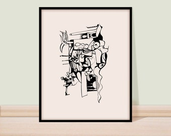 Wall art, Black and white, Giclee print, Surreal art, Fine art, Print, Art, Drawing, Pen and  ink drawing, figure drawing, line art