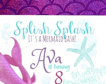 Mermaid Invitation/Favor tag jpg.