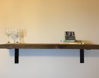 Industrial farmhouse style reclaimed wood shelf