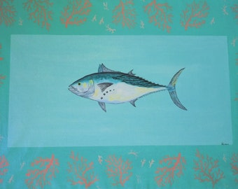 Canvas Floorcloth with Tuna and Coral design