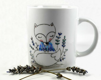 Mug with woodland fox in shades of pastel blue with Impressionist painting effect - hand painted