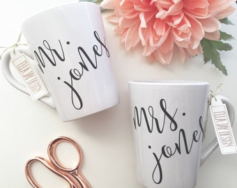 Mr. & Mrs. Coffee Mug, Wedding Gift, Engagement Gift, Bridal Shower Gift, Bride, Wedding, Coffee mug, His and Hers, Engaged, Wifey,
