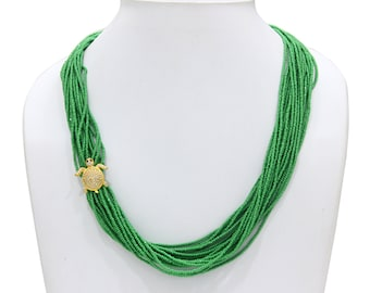 Handmade Green Seed Bead and Turtle Necklace