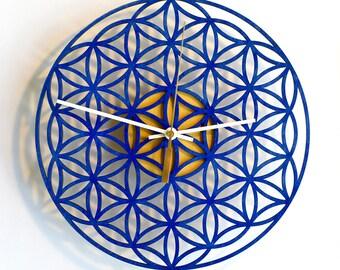 Flower Of Life, Sacred Geometry, Mandala, Wall Clock, Modern Clock, Wooden Wall Clock, Flower Of Life clock, Valentines day gift