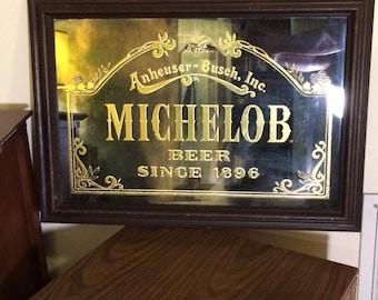 Vintage Anheuser Busch Michelob Mirrored Bar Sign