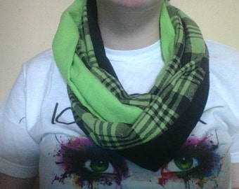 Lime Green and Black with Plaid Infinity Scarf