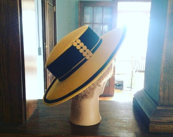 Vintage Yellow Derby Hat, 1980's