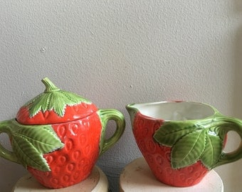 Strawberry Sugar Bowl, Strawberry Creamer, Ceramic, Vintage Kitchen, Tea & Coffee set