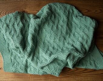 Knitted Baby Blanket Light Green