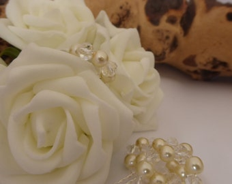 Crystal and Pearl Loops, 5 gorgeous loops of elegance, silver, sparkle, pearl purity.