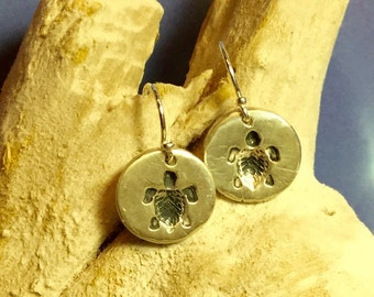 Sterling and Fine Silver Antiqued Turtle Disk Earrings