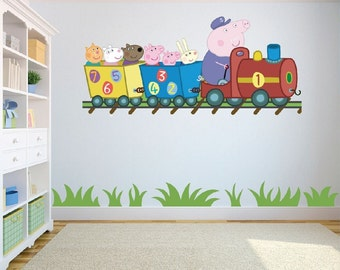 Peppa Pig Train Ride wall art/decal sticker kids bedroom/playroom w 130 cm x h 59 cm