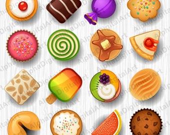 16 Cake clipart, dessert clipart set, food clipart set, cake clipart set, digital dessert, scrapbooking clipart, digital cupcake,pie clipart