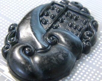 54mm Carved Black Jade Abstract Chinese Abacus Pendant - Handcarved Jade Pendant